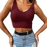 Feitong Damen T-Shirt Frauen Solid Sleeveless Sexy O-Neck Backless Pullover Crop Tank Top Weste(EU-40/CN-XL, Weinrot)