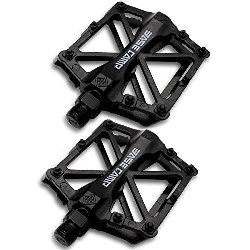 Fahrrad Radfahren Bike Pedale, NATUCE Neu Aluminium Mountainbike Pedale Rennrad Hybrid Pedale für 9/16 Zoll - Schwarz