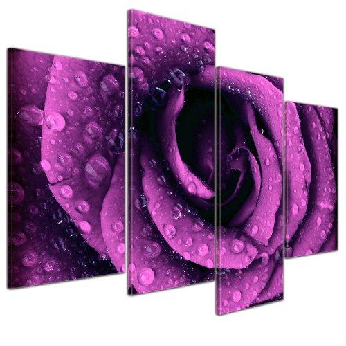 Bilderdepot24 Kunstdruck - Lila Rose mit Tropfen - Bild auf Leinwand - 120x80 cm 4 teilig - Leinwandbilder - Bilder als Leinwanddruck - Wandbild