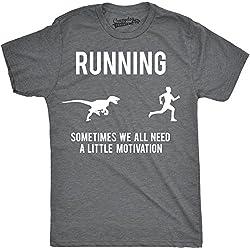 Crazy Dog T-Shirts Mens Running Motivation Raptor Chase T Shirt Funny Dinosaur tee For Guys (Grey) - XXL - Camiseta Divertidas