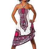 H112 Damen Sommer Aztec Bandeau Bunt Tuch Kleid Tuchkleid Strandkleid Neckholder, Farben:F-022 Pink;Größen:Einheitsgröße