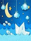 5x 7Neugeborene Baby Fotografie Hintergründe Gold Moon weiß Papier Boot Hintergrund blau Geburtstag Party fototermin keine Falten
