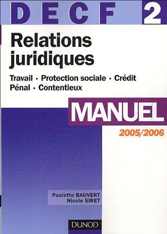 Relations juridiques DECF 2