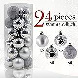 Valery Madelyn 24tlg. 6cm Winter Wünsche Silber Bruchsicher Weihnachtskugel Dekoration Baumkugeln für Urlaub Hochzeit Deko