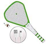 Fly Swatter Zapper Racket, Electric Mosquito Killer Bat, Tennis Swat, USB Rechargeable Bug
