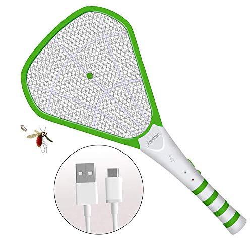 fraxinus Elektrische Fliegenklatsche, Fliegenfänger Moskito Zapper, Insektenvernichter, Universelles Schnelles USB-Laden - 1200mA Akku - 3600-Volt-Tötungsgitter - Berührungssicher. (Grün)