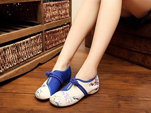 GXS Blaue und weiße Porzellan bestickte Schuhe, Sehnensohle, ethnischer Stil, Femaleshoes, Mode, bequeme, lässige Segeltuchschuhe White