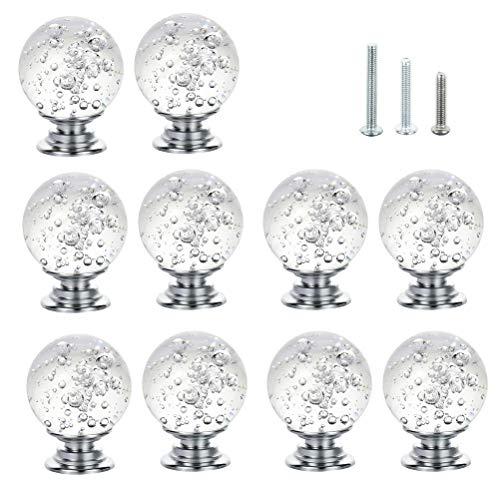 IFOLAINA Küchenschrank Knöpfe Kristall Schubladengriffe Rund Glas Zieht Stein Kabinett Kommode Bücherregal mit 3 Größe Schrauben 10 Pack -