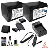 #10: Two Halcyon 2400 mAH Lithium Ion Replacement NP-FV70 Battery and Charger Kit + Memory Card Wallet + SDHC Card USB Reader + Deluxe Starter Kit for Sony 16GB HDR-PJ380 60p HD Handycam Camcorder and Sony NP-FV70