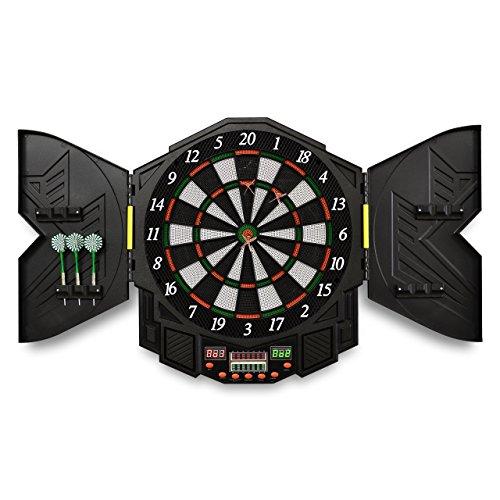 Nexos Elektronische Dartscheibe Dartboard Dartautomat E-Dart Kabinett - Set inkl. 12 Dartpfeile Ersatzspitzen Netzteil - 27 Spiele 216 Varianten