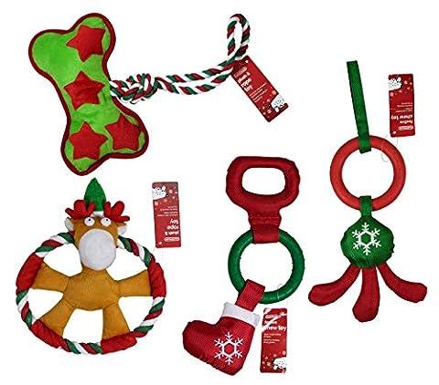 Gardman Weihnachten Hund Toys Vier Pack, 2x starke & Hart