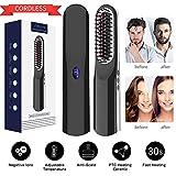 ANLAN Peine Inalámbrico Plancha de Pelo Cepillo Alisador de Barba con USB Recargable, LCD Pantalla, Calentamiento Rápido, Temperatura Ajustable