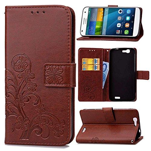 pinlu Schutzhülle Für Huawei Ascend G7 (5.5zoll) Handyhülle Hohe Qualität PU Ledertasche Brieftasche Mit Stand Function Innenschlitzen Design Glücklich Klee Muster Braun