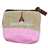 OHQ Coton Et Lin Porte Monnaie Beige Nouveau petit sac en toile Zip Wallet Lady Coin Case Sac à main Porte-clés (Beige)