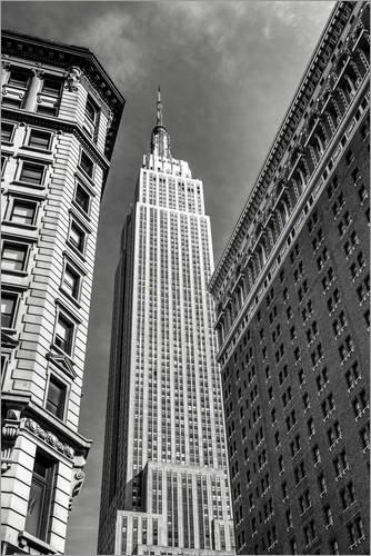 Posterlounge Acrylglasbild 80 x 120 cm: Empire State Building - New York City (schwarz weiß) von Sascha Kilmer - Wandbild, Acryl Glasbild, Druck auf Acryl Glas Bild