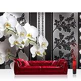 Fototapete 368x254 cm PREMIUM Wand Foto Tapete Wand Bild Papiertapete - Blumen Tapete Orchideen Blume Blüten schwarz weiß - no. 1586
