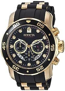 Invicta Men's Pro Diver Quartz Watch with Black Dial Chronograph Display and Black PU Strap 6981