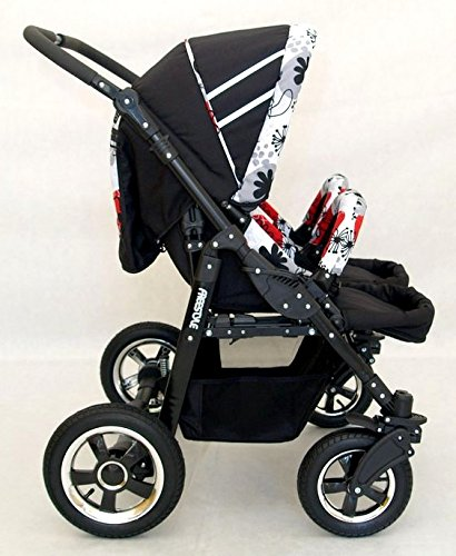 Complete Twin Pram - Carrycots, Chairs and Accessories - Black + Red BBtwin Colour: black + red. Includes 2 carrycots and 2 chairs plus leg cover, carrycot covers, bag backpack, lower basket, 2 plastic rain covers and 2 fly nets. - High-quality pneumatic, swivelling and shock-absorbent wheels. 5