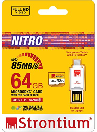 Strontium 64 GB Nitro 566X microSDXC UHS-1 Memory Card (Class10) With OTG Card Reader