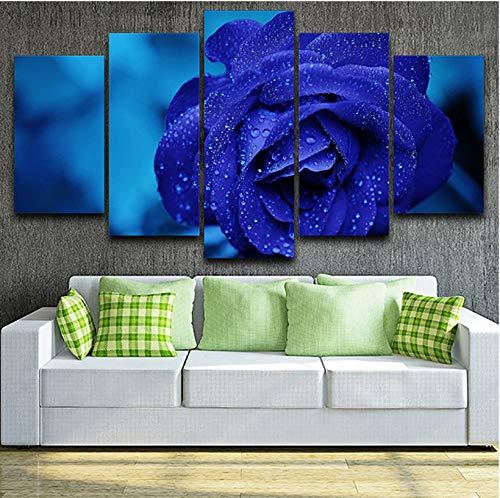 wmyzfs Poster Wohnkultur Wohnzimmer Modulare Bilder 5 stücke Dark Blue Rose Wandkunstwerk Malerei HD Gedruckt Leinwand