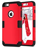 Coque iPhone 6 Plus, Coque iPhone 6S Plus, ENTOBEN Etui de Protection iPhone 6S Plus Antichoc Résistante 3 en 1 Antichoc Robuste de 3 Couche en PC Durable et Silicone pour iPhone 6 Plus/iPhone 6S Plus, Rouge/Noir
