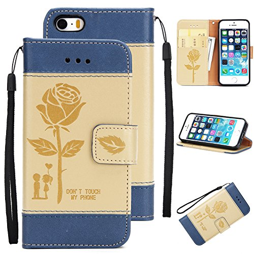 iPhone SE Case, iPhone 5S Case, iPhone 5 Case, BONROY Premium Retro elegant roses pattern PU Leather Wallet Flip Case Cover with [Lanyard Strap] [Credit Card Slots] [Magnetic Closure] and Stand Function Bumper Protective Cover For iPhone SE 5S 5 - Gold Test