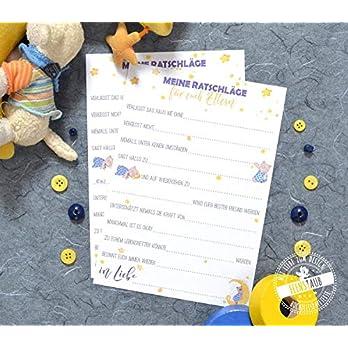 Babyparty Spiel 10 Karten zum Ausfüllen mit Ratschlägen für die Baby-shower oder zur Geburt