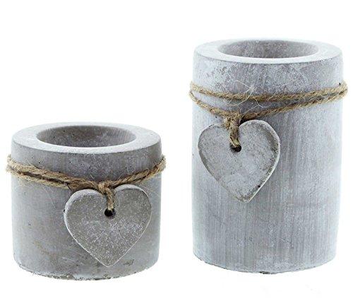 SIDCO 2 x Teelichthalter Herz Kerzenhalter Stein Kerzenständer Beton Kerzenleuchter