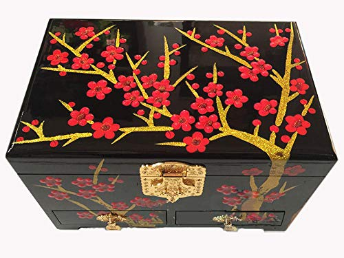 Wooden fish Chinesische Schmuckschatulle,Drücken Sie leichte Lack Ware Box Schublade Lagerung Feld Lacquerware Handwerk chinesische Aufbewahrungsbox,Chinesische Hochzeit Aufbewahrungsbox