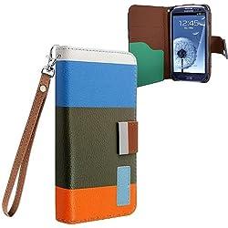 Xtra-Funky Exclusiva del arco iris funda cartera de cuero de rayas Bloquear PU con la tarjeta de Crédito / Débito Dinero Ranuras para Samsung Galaxy S4 (i9500-i9505) - Diseño SD1
