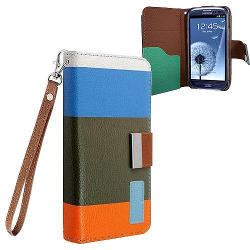Xtra-Funky Exklusiv Regenbogen gestreiftes Block PU-Leder Geldbeutel Fall mit Kreditkarten- & Geldschlitzen für Samsung Galaxy S4 (i9500) - Entwürfe SD1