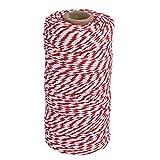 Spago da Cucina Corda Iuta Cucito Filo,100 Metri, Rosso e Bianco
