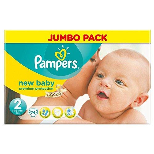 Pampers New Baby Größe 2 Mini 3-6kg (74) - Packung mit 2