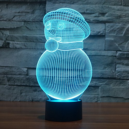 Natale pupazzo di neve 3D Festival illusione stereo creative LED lampada lampade variopinte