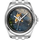Personalisierte Herrenuhr Fashion Wasserdicht Armbanduhr Diamond_038.A Long Hair Braun und Weiß Chihuahua Running