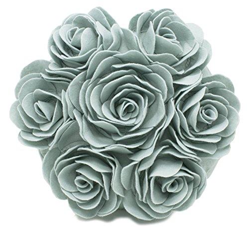 Fennco Styles Dekoratives Kissen mit Mehreren Rosenmotiven 38 cm rund Case + Insert Aqua (Kissen-insert-runde)