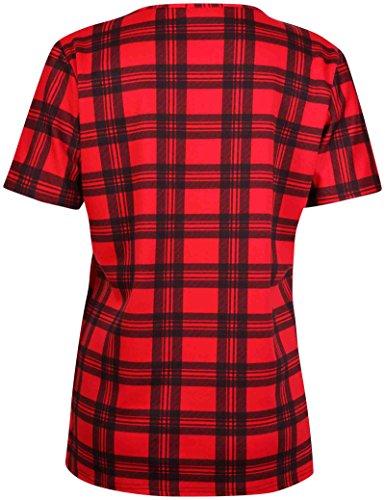 Damen Tartan Karomuster Bedruckte Damen Stretch Kurzärmlig Rund U-ausschnitt T-Shirt Tank Top Übergröße Rot Tartan