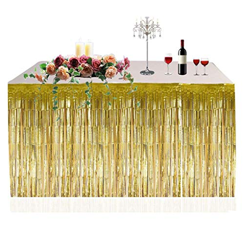Provide The Best Metallic Fringe Foil Table Rock Tinsel Tabelle Vorhang für Luau Party-Geburtstags-Sommer-Jahrestag Weihnachten Tischdekoration