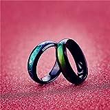 Anello nero in acciaio al titanio, sensibile alla temperatura, cambia colore, anello dell'umore con tracciato ECG, taglia 6-10, Size 10, 19.7mm
