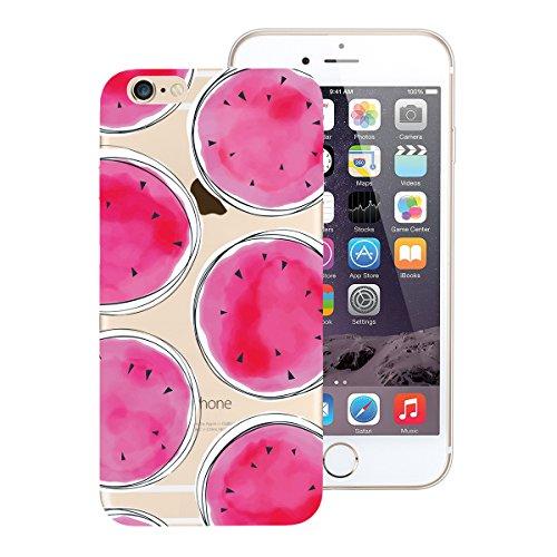 SMART LEGEND iPhone 6S Plus/iPhone 6 Plus Weiche Silikon Hülle TPU Bumper Transparent Handyhülle mit Bananenblätter Muster Durchsichtig Schutzhülle Backcover Crystal Kirstall Clear Etui Ultra Slim Des Wassermelone