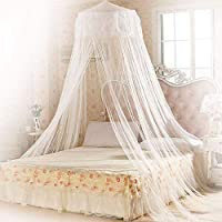 Mopalwin Bed Mosquito Net Canopy Protection Full Coverage Curtain Dome Fly Insect Net for Double For Home Or Holidays (White)