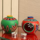 ExclusiveLane 'Light In Matkis' Hand-Painted Tea-Light Holders In Terracotta (Set Of 2)-Tealight Candle Holder Votive Candle Holder Stand Diwali Decoration Home Decorative Items For Living Room Gift Tealight