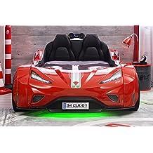Cilek GTI Autobett Kinderbett Bett Rennfahrerbett Rot / Schwarz, Matratze Sondermaße Oval:mit Matratze