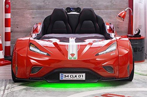 Cilek GTI Autobett Kinderbett Bett Rennfahrerbett Rot, Matratze Sondermaße Oval:mit Matratze