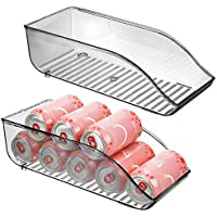 mDesign Juego de 2 cajas de almacenaje para frigorífico y armarios de cocina – Contenedores de plástico con capacidad para 9 latas – Práctico organizador de nevera – gris humo