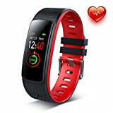 Dr. VIVA Fitness Tracker Farbdisplay Fitness Armbanduhr Smartband mit Pulsmesser Schlafmonitor Pedometer für iOS & Android (Rot)
