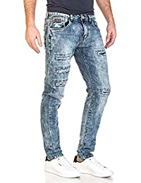 BLZ jeans - Jeans homme bleu slim déchiré usé