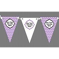 Chevron Stripes personalizzabile compleanno bambini, motivo: Party-Striscione con bandierine, decorazione, viola, Grande - Viola Chevron Stripes
