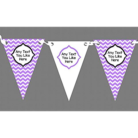 Chevron Stripes Viola Personalised Birthday Party-Striscione con bandierine, decorazione, viola, Grande - Viola Chevron Stripes
