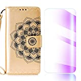 The Grafu Galaxy Note 8 Case, Flip Leather Cover Card Slot Holder with KickStand and Free Tempered Glass Screen Protector for Samsung Galaxy Note 8, Gold